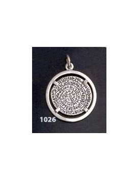 1026 Festos/Phaistos disc pendant on silver bezel (M)