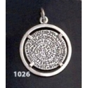 1026 Festos/Phaistos disc pendant on silver bezel (M)