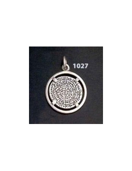 1027 Festos/Phaistos disc pendant on silver bezel (S)