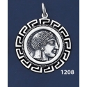 1208 Goddess Athena Coin Pendant with Greek Key Pattern / Meander (L)