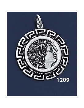 1209 Alexander The Great (Lysimachos) Coin Pendant with Greek Key Pattern / Meander (L)