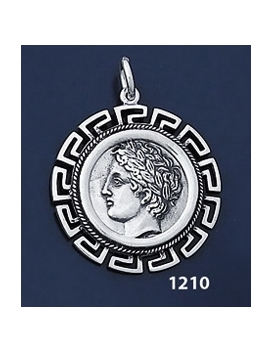 1210 Chalkidian League God Apollo Coin Pendant with Greek Key Pattern / Meander (L)