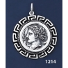 1214 Syracuse Arethousa/Artemis/Persephone Coin Pendant with Greek Key Pattern / Meander (L)