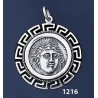 1216 Rhodes Island- Helios Ancient Sun God Coin Pendant with Greek Key Pattern / Meander (L)