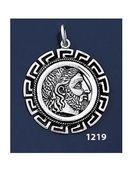 1219 Phillip II Macedon Depicting Zeus Coin Pendant with Greek Key Pattern / Meander (L)