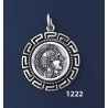 1222 Goddess Athena Coin Pendant with Greek Key Pattern / Meander (M)