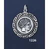 1226 Chalkidian League God Apollo Coin Pendant with Greek Key Pattern / Meander (M)