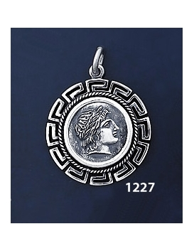 1227 Chalkidian League God Apollo Coin Pendant with Greek Key Pattern / Meander (M)