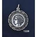 1228 Syracuse Arethousa/Artemis/Persephone Coin Pendant with Greek Key Pattern / Meander (M)