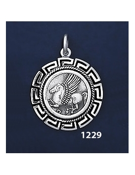 1229 Pegasi / Pegasus Coin Pendant with Greek Key Pattern / Meander (M)