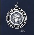 1230 Rhodes Island- Helios Ancient Sun God Coin Pendant with Greek Key Pattern / Meander (M)