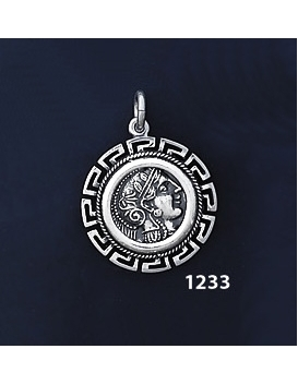 1233 Goddess Athena Coin Pendant with Greek Key Pattern / Meander (S)