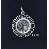 1238 Chalkidian League God Apollo Coin Pendant with Greek Key Pattern / Meander (S)