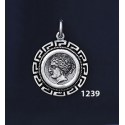 1239 Syracuse Arethousa/Artemis/Persephone Coin Pendant with Greek Key Pattern / Meander (S)
