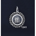 1241 Aegina Land Tortoise Coin Pendant with Greek Key Pattern / Meander (S)