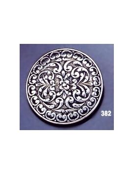 382 Ornate sterling brooch round