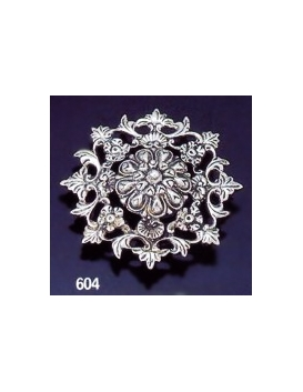 604 Intricate Floral Sterling Silver Round Brooch