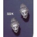322K Sterling silver Lion torc clip earrings
