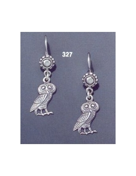 327 Owl of Wisdom Sterling Silver Earrings