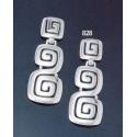 828 Large faceted 'Ionic' Greek-key motif earrings