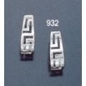 932 Oval tear-shaped hoop maeander greek key earrings