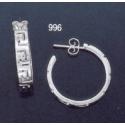 996 Greek key maeander hoop earrings