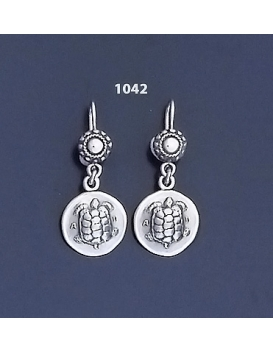 1042 Aegina Land Tortoise Silver Coin Earrings