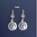 1046 Goddess Athena Silver Coin Earrings