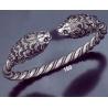 160 Hand-Coiled Double Headed Lion Torc Bracelet