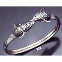 232 Double headed ornate sterling silver dolphins-heads bracelet