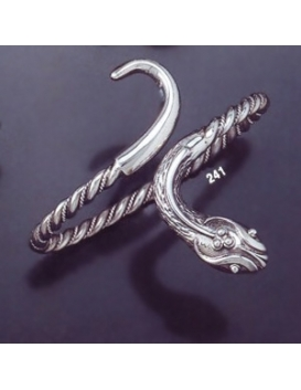 241 Single Headed Hand-Coiled Silver Snake Bracelet