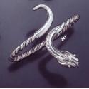 241 Single Headed Hand-Coiled Silver Snake Bracelet