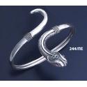 244/PE Silver Head & Tail Ornate Snake Bracelet with Ruby & Emerald