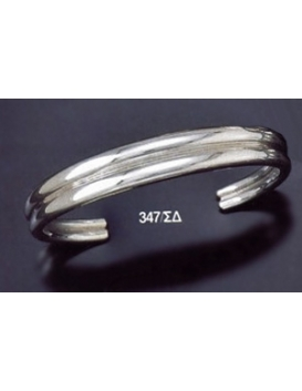 347/SD Double Solid Silver Band Bracelet (Heavy)