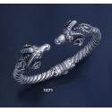 1071 Hand-coiled Ram's head torc bracelet (L)