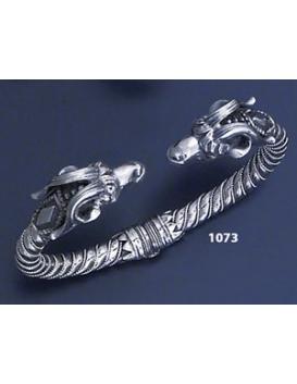 1073 Hand-Coiled Capricorn's head torc bracelet (L)