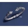 1075 Hand-coiled Lion's head torc bracelet (M)