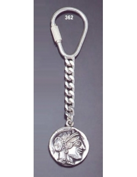 362 Silver Keyring with Goddess Athena Coin