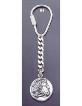 363 Silver Keyring with Phillip II Macedon coin depicting Zeus