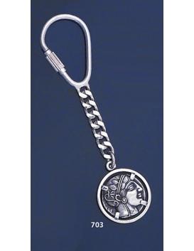 703 Silver Keyring With Goddess Athena Coin