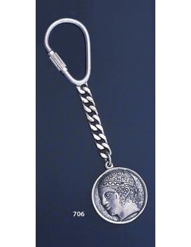 706 Silver Keyring with Charioteer of Delphi ( Iniohos / Heniochos/ Iniochos )