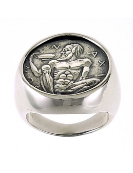 1129/B Large Mens Chevalier coin Bacchus/Dionysus Nude satyr ring XL