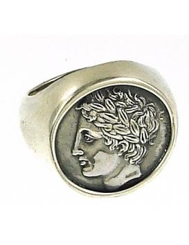 1132 Large Mens Chevalier Greek God Apollo coin ring XL