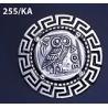 255/KA Greek Owl of wisdom brooch with Greek key pattern