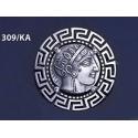 309/KA Sterling silver Athena tetradrachm brooch with Greek key