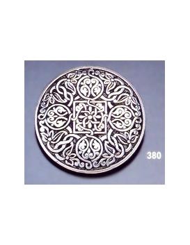 380 Ornate sterling brooch round
