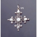 171 Single-Sided Solid Silver Ornate Byzantine Cross