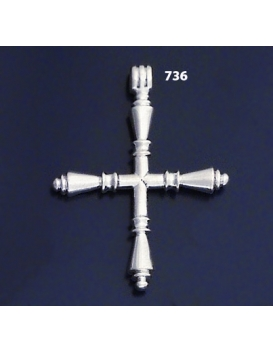 "736 XL Impressive Solid Sterling Silver Bar Cross """"3D"""""