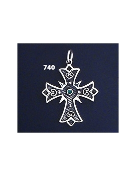740 Double Sided Orthodox Baptism Silver Cross With Ruby & Emerald