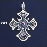 741 Double Sided Orthodox/Byzantine Baptism Silver Cross With Ruby & Emerald